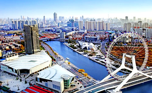 Огромное колесо обозрения на мосту «Око Тяньцзиня»